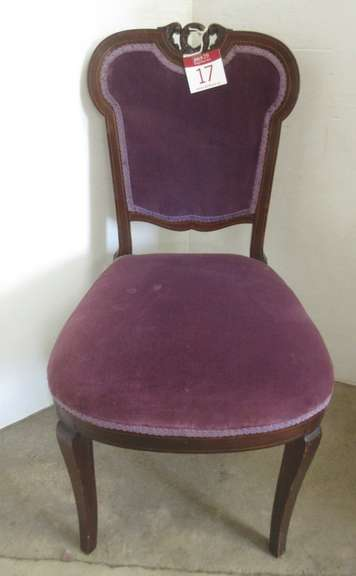 Victorian Side Chair, Hand Crafted Dark Wood Area on Frame, Possibly Mahogany, Upholstery is Purple Velvet with Decorative Trim
