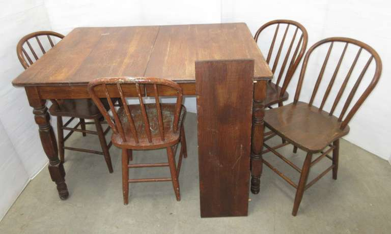 "Older Kitchen Table with (4) Chairs and 10"" Leaf"