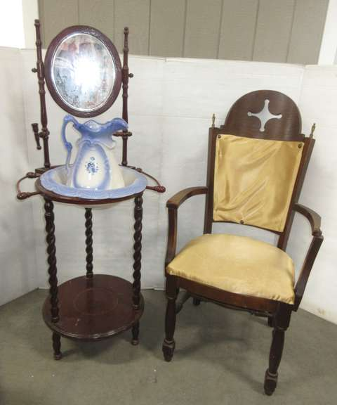 Older Wash Basin Stand with a Mirror and Pitcher, and a Chair