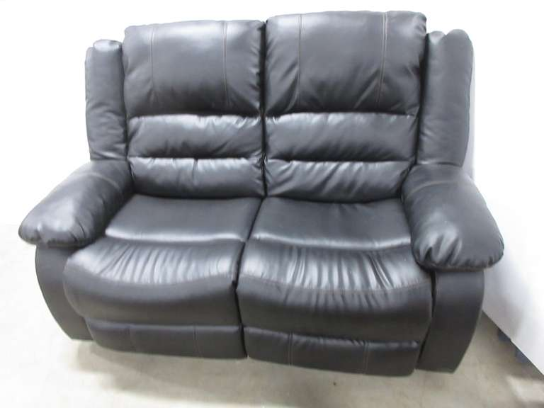 Black Leather Double Reclining Loveseat