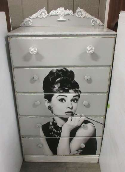 Audrey Hepburn Dresser, Gray and White in Color