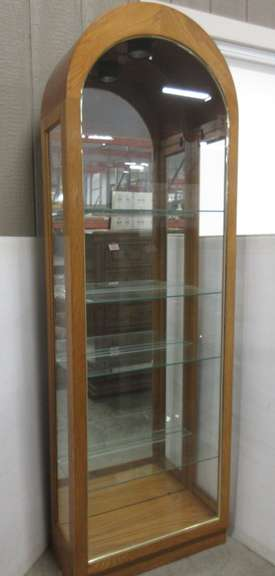Light Oak Lighted Curio Cabinet with Glass Shelves and Plate Display Slots