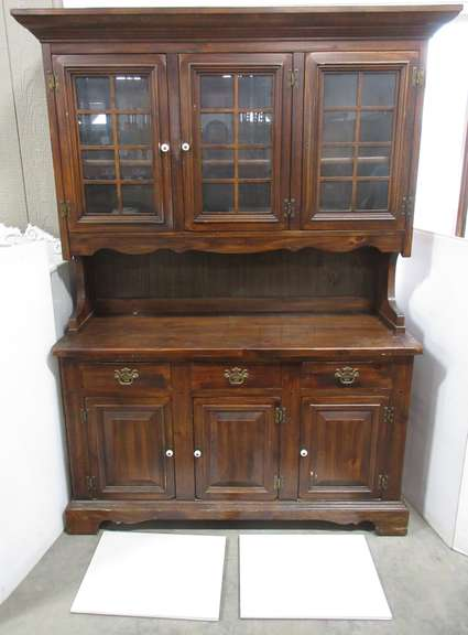 Older Solid Wood China Cabinet with Chest