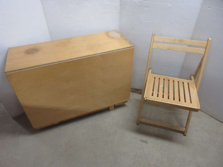 Expandable Table on Wheels with Drawer and (2) Folding Chairs, Drop Down Leaves