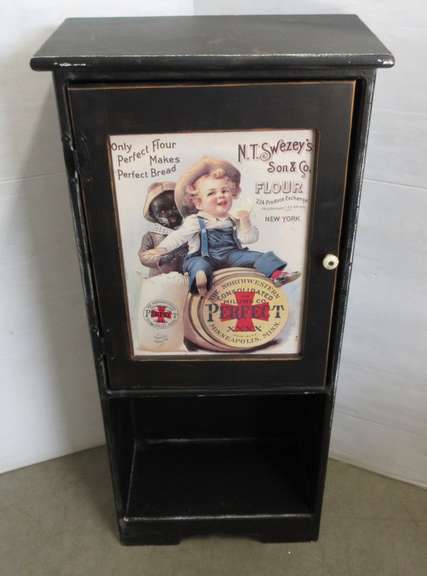 Primitive Black Cupboard with Door, Advertise NT Swezey's Son & Co. Flour