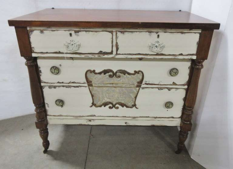 Wood Dresser, Front is Painted Gray and Cream