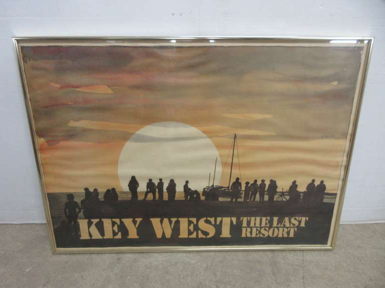 "1976 ""Key West The Last Resort"" Travel Destination Poster, Key West Artist Robert E. Kennedy, Kennedy Studios"