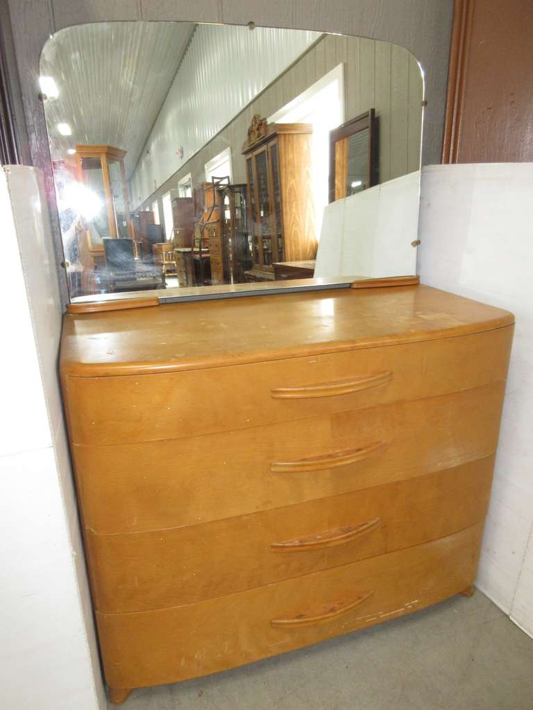 Antique Four-Drawer Dresser from the 1950s with Original Mirror, Maple Wood, Matches Lot No. 7