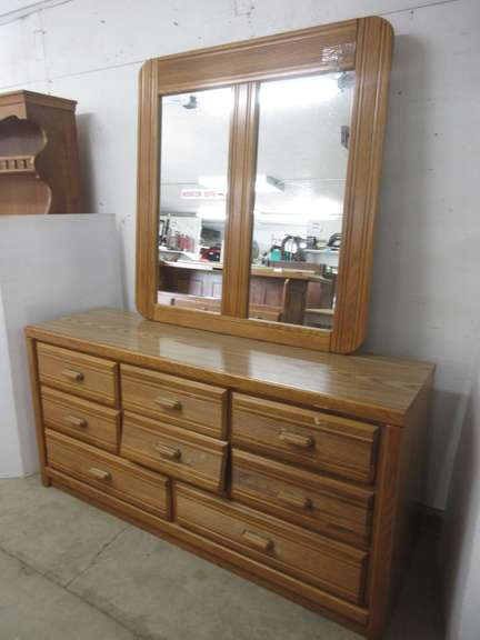 Eight-Drawer Dresser with Mirror