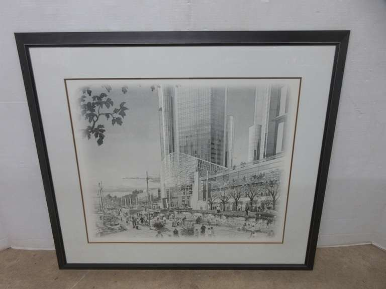 Extra Large General Motors World Headquarters Detroit Renaissance Center Artist Drawing, Was a Parting Gift for a GM Employee