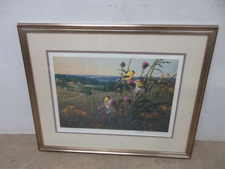 "Wildlife Art ""Golden Meadow"", Goldfinches by Michael Sieve, Signed and Numbered 63/950, Limited Edition, Was Published in 1988 by Wild Wings, Birmingham, MI"