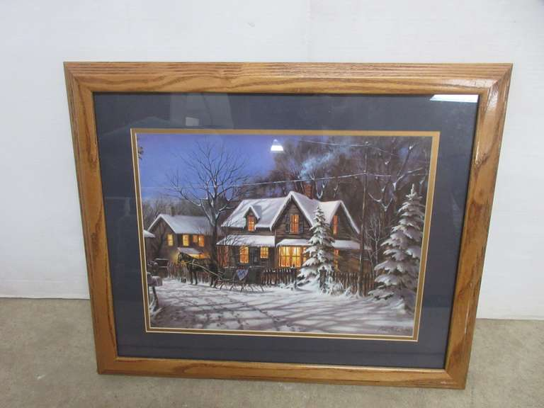 "Original Gene Stocks ""Pine Ridge Trail"" Signed Art Print in an Oak Frame"