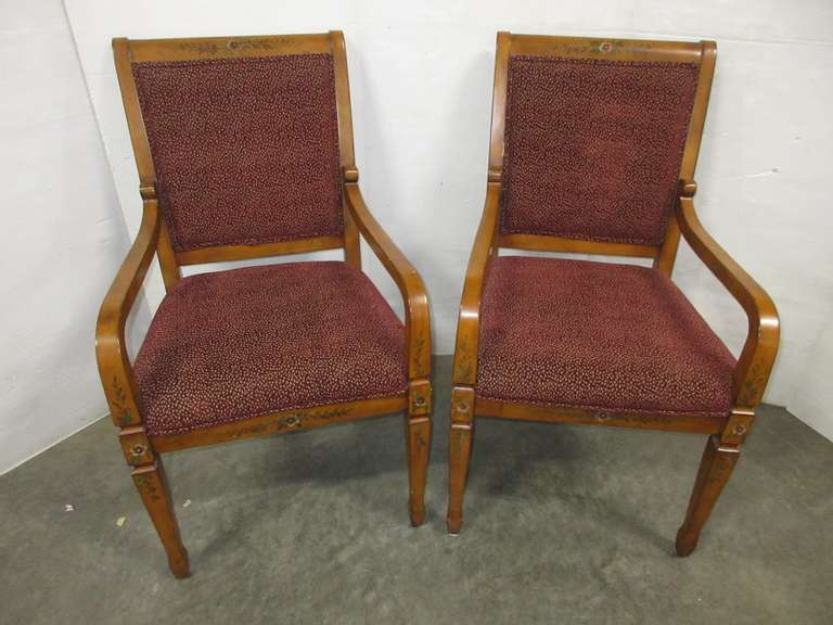 (2) Wood and Fabric Chairs