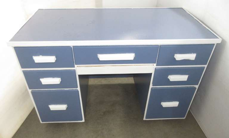 Large Desk, Painted Blue with White Trim, Has Seven Drawers and Pull Out Tray, Built by a Carpenter