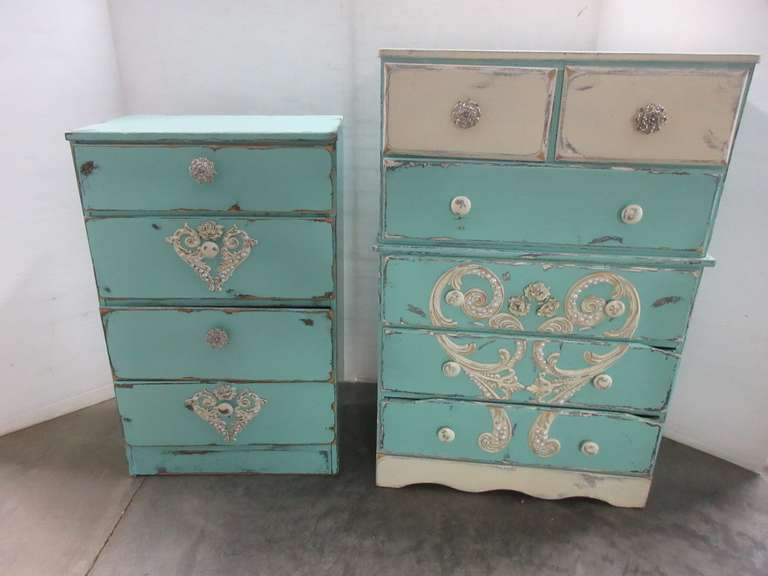 Aqua and Pearl Dresser and Nightstand