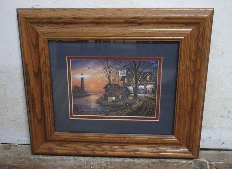 Lighthouse Inn Art Print in Oak Frame