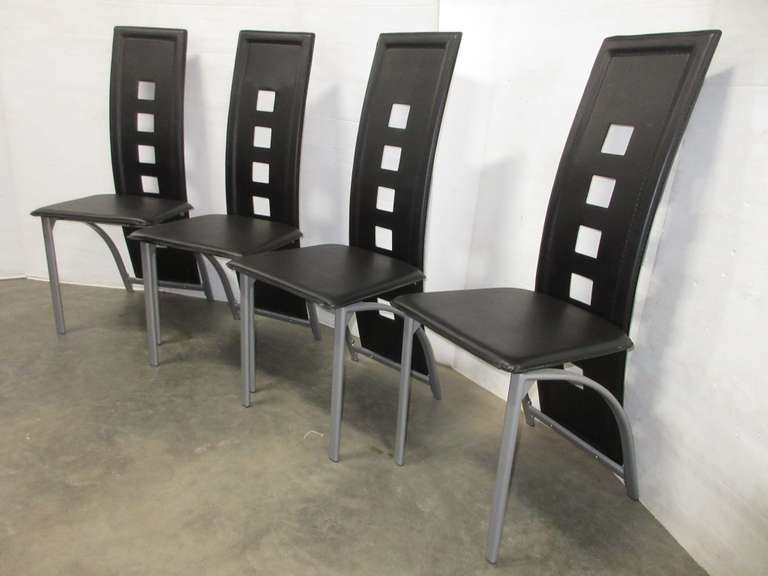 (4) Black Leather Chairs