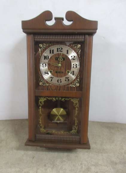 1970s Centurion 35-Day Wood Pendulum Wall Clock with Key