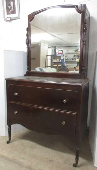 "Antique Wardrobe Dresser with Mirror and Two Drawers, Stamp on Back Says ""200 Mahogany"""