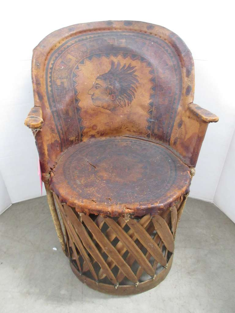 "Very Old Leather Chair with Indian Head, Hand Painted and Signed ""Pina"""