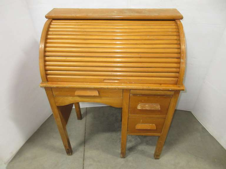 Childs All Wood Roll Top Desk with Three Drawers, Slide Out Writing Board, Removable Pigeon Holes, and Working Accordion Top
