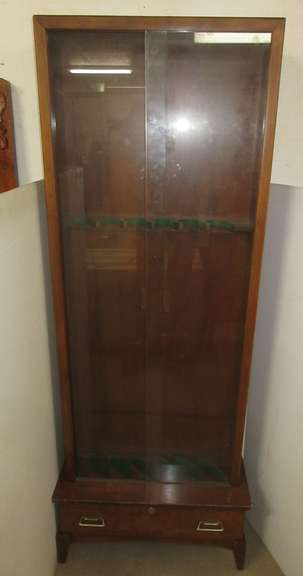 Gun Cabinet with Drawer and Key, Holds Six Guns, Has Glass Front