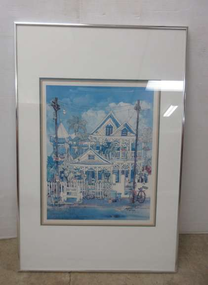 1982 Key West Folk Art Conch House Architectural Print, Hand Signed by Key West Artist Ann Irvine, Limited Edition 883/1000