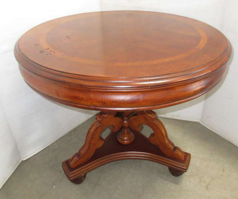 Table, Inlaid Wood with Intricately Carved Base