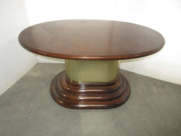 Wooden Coffee Table with Gold Ring