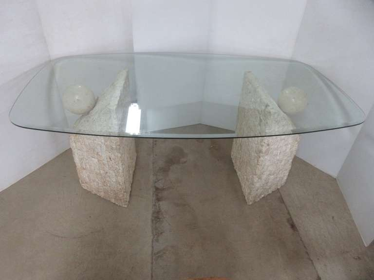 Glass Kitchen/Dining Room Table with Marble Like Support Pillars