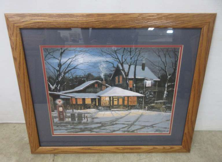 "Original Gene Stocks ""Country Gas Station"" Signed Art Print in an Oak Frame"