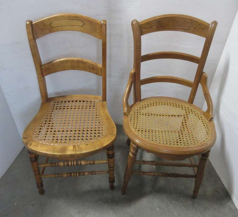 (2) Unmatching Victorian Straight Chairs, 1- Tiger Maple with Replaced Tight Vinyl Caning, and 1- Spoon Carved with Loose Caning