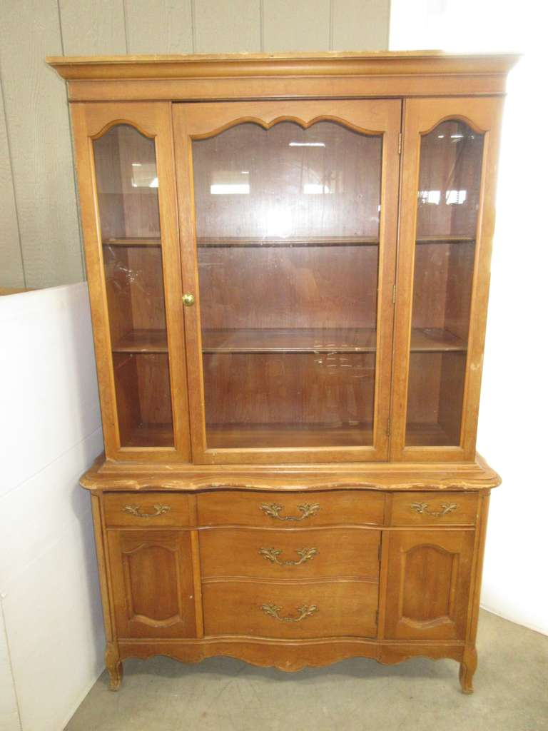 Wood China Cabinet with Two Glass Doors
