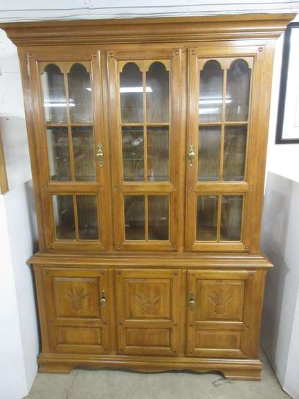 Large Solid Wood Two-Piece Hutch with Four Doors and Glass Shelves