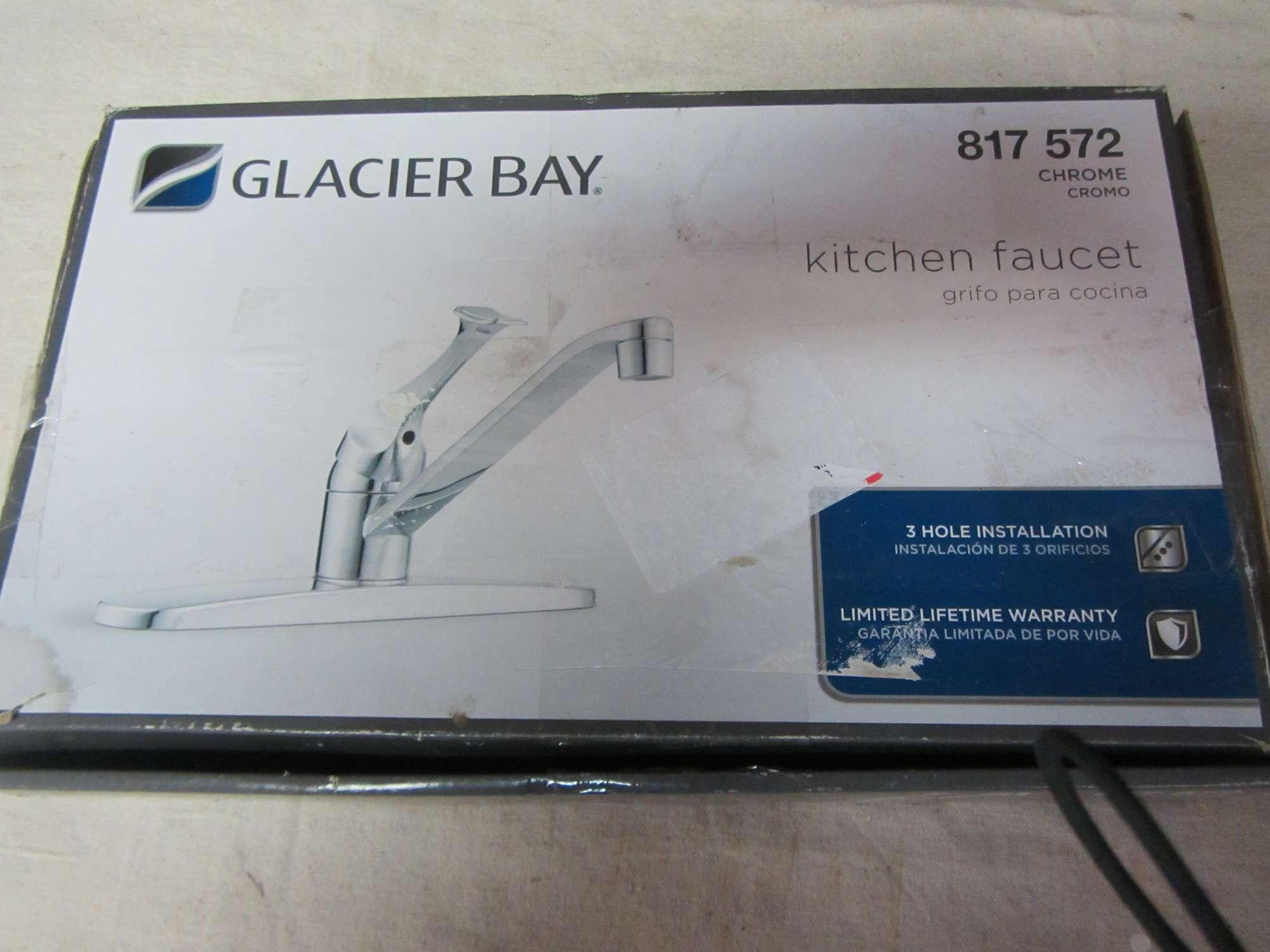 Albrecht Auctions Glacier Bay Chrome Kitchen Faucet Three Hole Installation No 817 572 Nos