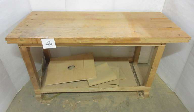 "Woodworking Table, 2 1/8"" Top, 27 1/2"" x 64"" x 34"""