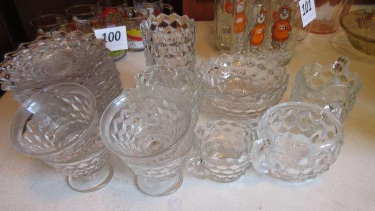 Group of Fostoria American Patterned Dishes
