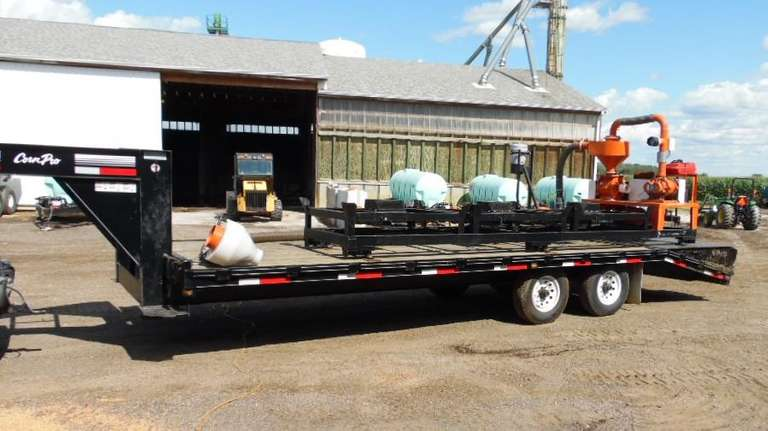 2009 Bruneumatic 3-Box Seed Tender, Remote Controlled Operation, Like New Condition; On a 2009 Corn Pro Gooseneck Trailer, Like New Condition, Clean and Clear Title