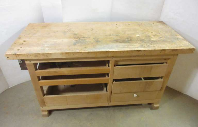 "Woodworking Table, 2 1/8"" Top, Six Drawers, 26 3/4"" x 64"" x 34"""