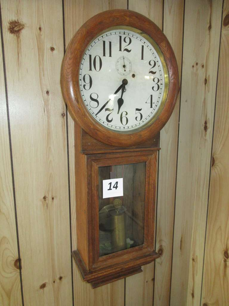 "Antique New Haven Wall Clock with Key, Time Only, 15""W x 34""L, Working Condition"