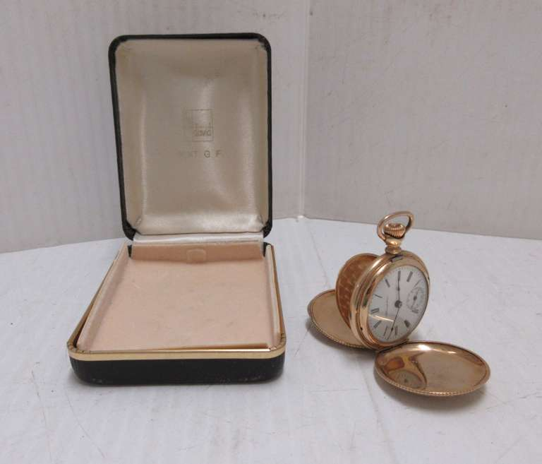 Antique Hampden Pocket Watch in Beautiful Gold Filled Hunting Case, Not Running, Smaller Size Watch, 1 1/4""