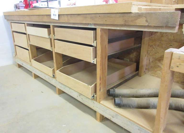 "Heavy Duty Wood Tool Bench w/ Drawers, 2"" Thick MDF Top, and Contents, 90"" x 31"" x 3'"