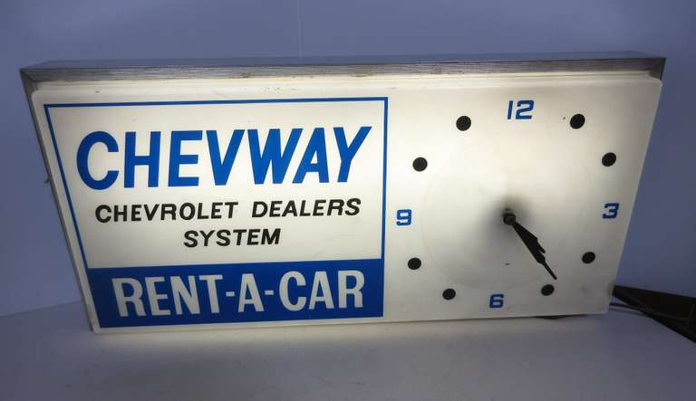 Chevway Chevrolet Dealer System, Rent A Car Sign/Clock