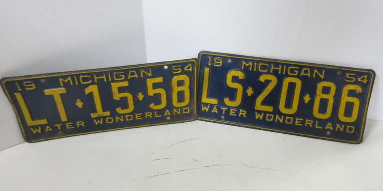 Pair of 1954 License Plates