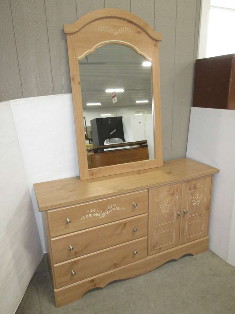 Woodgrain Dresser with Mirror