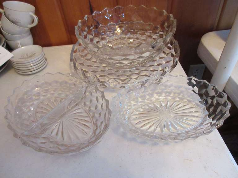 "Fostoria American 12"" Tray, 10"" Bowl, and 9"" and 10"" Relish Trays"