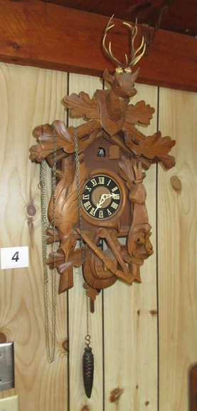 "Nice Old German Cuckoo Clock, 26""H from Antlers to Pendulum, Clock Works but Bird Does Not"