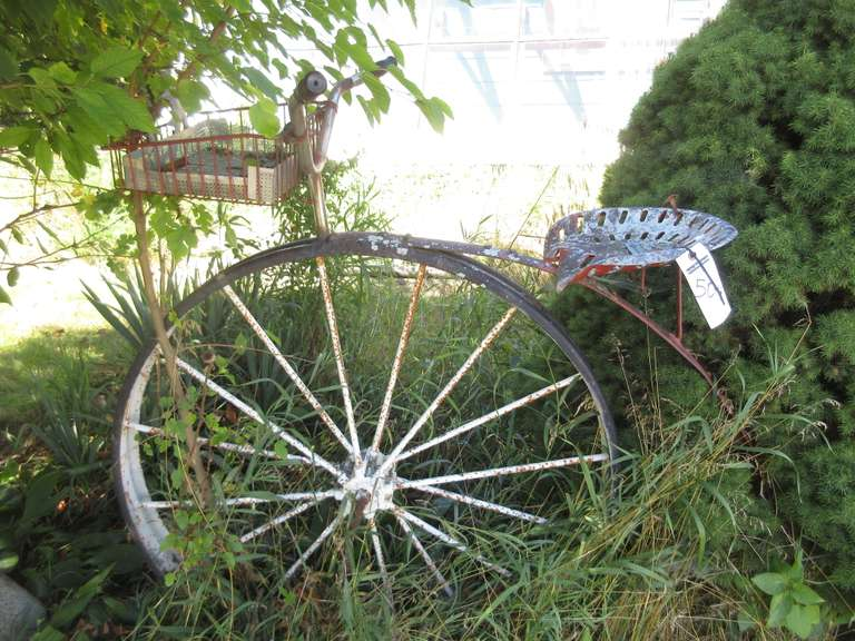 "Yard/Garden Big Wheel Bike Sculpture, 46""Dia Wheel x 5'L x 56""H"