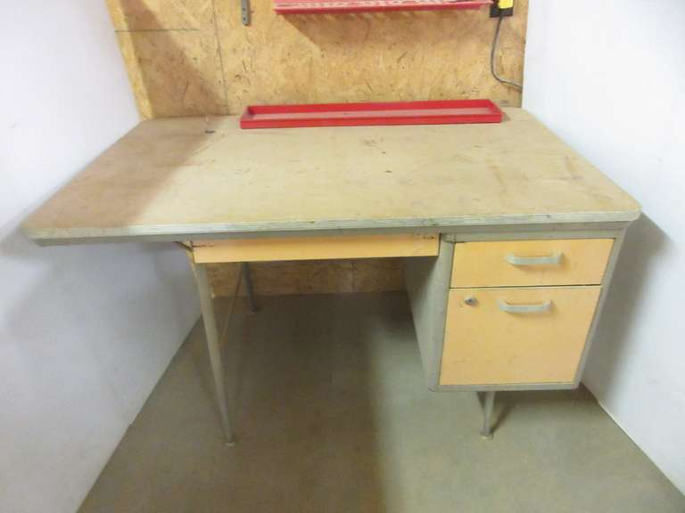 "Wooden Wall-Mount Cabinet with Metal Shop Desk, Cabinet: 36"" x 12 1/2"" x 18"" Desk: 48"" x 30"" x 29"", no key"