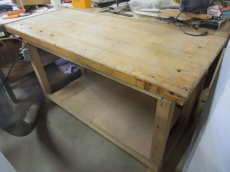 "Woodworking Table, 2 1/8"" Top, 27"" x 64"" x 34"""